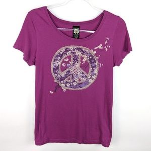 Lucky Brand Peace Sign Fitted Graphic Tee